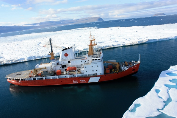 Canadian and US scientists used the  CCGS Henry Larsen, shown at the entrance to Petermann Fjord off Nares Strait in August 2012, to retrieve instruments assessing the ice and currents in the region. Photo Credit: Jon Poole and CCGS Henry Larsen