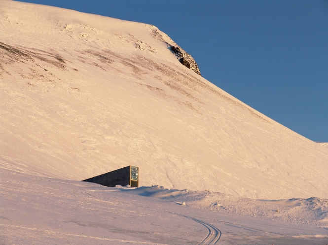 The entrance to the Svalbard Global Seed Vault in northern Norway~ photo by Global Crop Diversity Trust,
