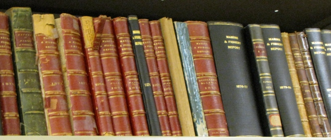 Rare books on the shelf at DFO's St. Andrews library ~  SOS