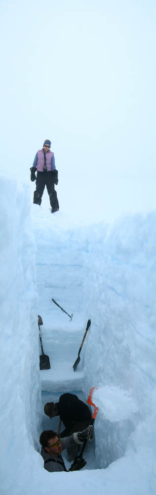 Digging a four-meter snow pit into snow layers of the Devon Island Ice Cap, Nunavut ~ Alex Gardner