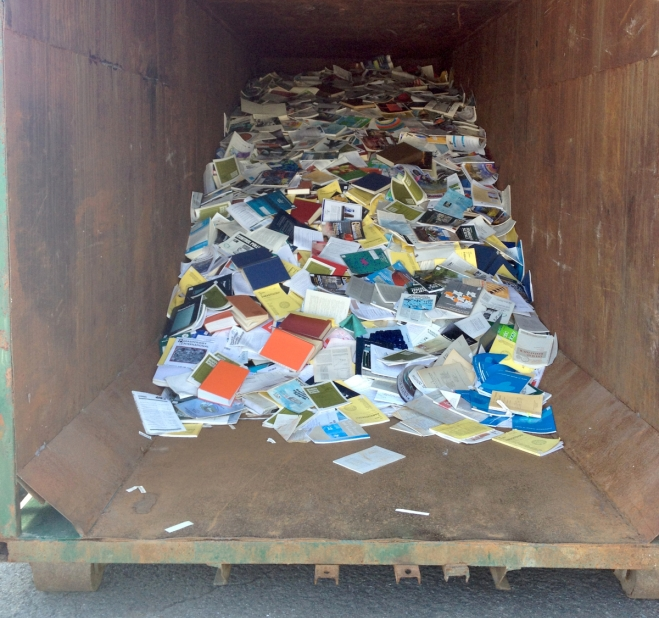 Books and reports from a Department of Fisheries library at the Maurice Lamontagne Institute in Mont Joli, Que., tossed into a dumpster, according to scientists distributing the photo.