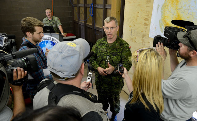 Lt.-Gen. Stuart Beare, commander Canadian Joint Operations Command, speaks to the media in Wainwright, Alta., in May 2013. ~ PHOTO by SGT. MATTHEW MCGREGOR/COMBAT CAMERA