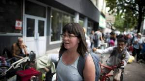 Outreach nurse Jacey Larochelle searches Vancouver's Downtown Eastside to check up on HIV-positive clients. (Rafal Gerszak for the globe and mail)